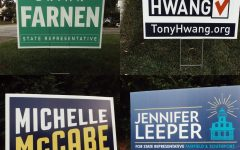 Local election signage: Michelle McCabe and Tony Hwang are running for the 28th Senate district, and Jennifer Leeper and Brian Farnen are running for the 132nd House district.