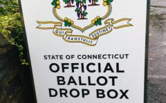 An absentee ballot drop off box in Fairfield, CT.