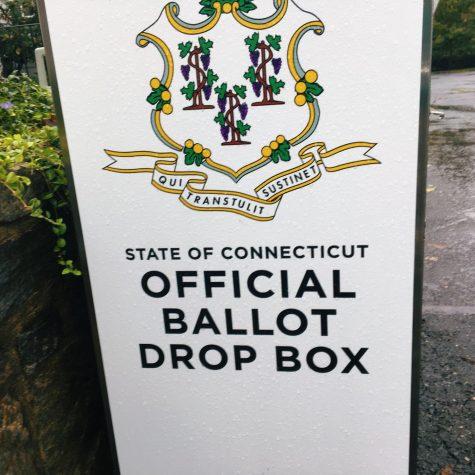 An absentee ballot drop off box in Fairfield, CT.