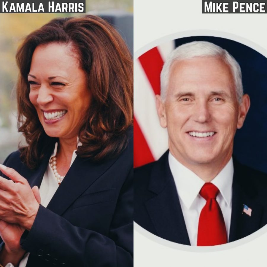 Vice+President+Pence+and+Senator+Kamala+Harris%2C+now+the+Vice+President-Elect%2C+debated+key+issues+such+as+COVID-19+and+the+environment+on+October+7.+Photos+of+the+candidates+are+from+the+US+Senate+and+White+House.