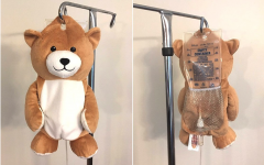 The Medi Teddy conceals a bag of medication to reduce anxiety during the hospital experience.