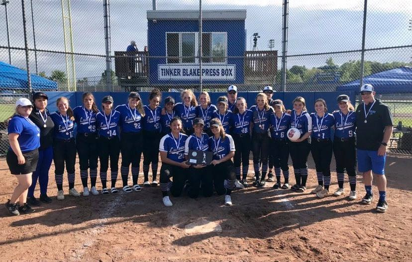 The Falcons line up for a team photo as the CIAC Class LL runner-up for softball.