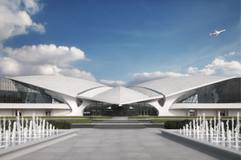 Prepare to take off at the TWA Hotel, rebuilt at the site of the original Trans World Airlines terminal in New York City, https://www.twahotel.com/.
